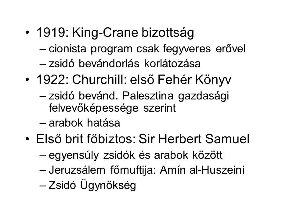 1919: King-Crane bizottság –cionista program csak fegyveres erővel –zsidó bevándorlás korlátozása 1922: Churchill: első Fehér Könyv –zsidó bevánd.