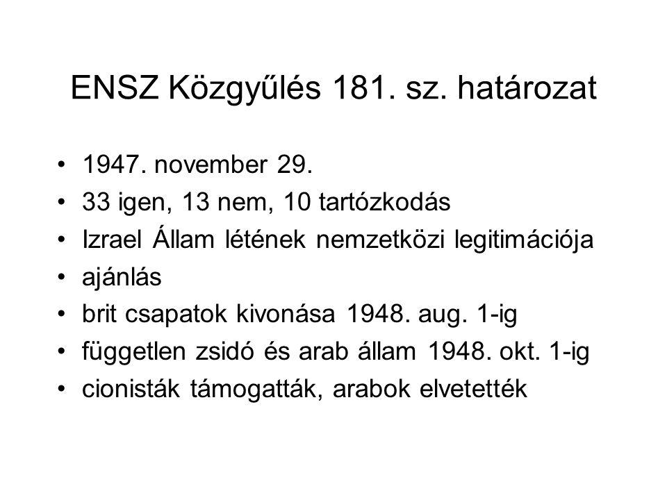 ENSZ Közgyűlés 181. sz. határozat 1947. november 29. 33 igen, 13 nem, 10 tartózkodás Izrael Állam létének nemzetközi legitimációja ajánlás brit csapat