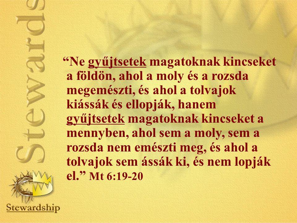Ne gyűjtsetek magatoknak kincseket a földön, ahol a moly és a rozsda megemészti, és ahol a tolvajok kiássák és ellopják, hanem gyűjtsetek magatoknak kincseket a mennyben, ahol sem a moly, sem a rozsda nem emészti meg, és ahol a tolvajok sem ássák ki, és nem lopják el. Mt 6:19-20