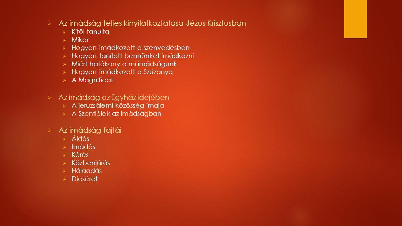  Az imádság teljes kinyilatkoztatása Jézus Krisztusban  Kitől tanulta  Mikor  Hogyan imádkozott a szenvedésben  Hogyan tanított bennünket imádkozni  Miért hatékony a mi imádságunk  Hogyan imádkozott a Szűzanya  A Magnificat  Az imádság az Egyház idejében  A jeruzsálemi közösség imája  A Szentlélek az imádságban  Az imádság fajtái  Áldás  Imádás  Kérés  Közbenjárás  Hálaadás  Dicséret