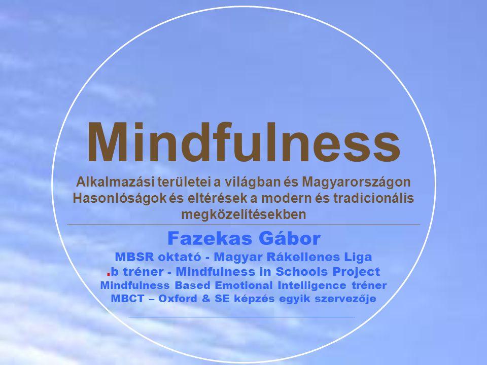 """Modern mindfulness ≠ Complete Buddhism Modern mindfulness ≠ """"Buddhism Light """"McMindfulness – kevés meditációs gyakorlattal, szakértelemmel rendelkező tanítók  Hosszabb, formálisabb képzések, kötelező részvétel buddhista elvonulásokon Nincs egységes mindfulness mozgalom Különböző módszerek, eltérő célok és hangsúlyok  MBSR - közelebb a buddhista hagyományhoz  MBCT – szigorúbban terápiás, tudományos-pszichológiai jelleg  Vannak direkt buddhista elemeket tartalmazó módszerek  Spiritual Self-Schema Therapy – Nemes Nyolcrétű Ösvény integrálása  MiCBT – etikai elvek modul a tanfolyamban  M4 Program (Monteiro, Musten) – TNH 5 Éber Figyelem Gyakorlat integrálása Mindfulness mozgalom"""
