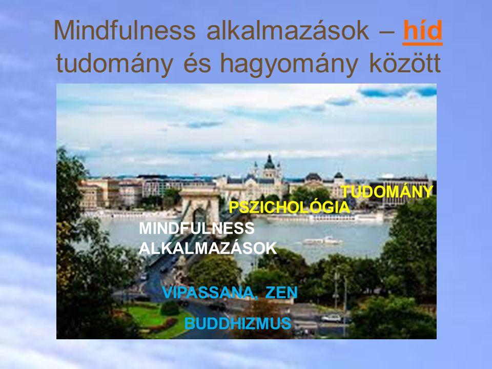Mindfulness alkalmazások – híd tudomány és hagyomány között TUDOMÁNY PSZICHOLÓGIA MINDFULNESS ALKALMAZÁSOK VIPASSANA, ZEN BUDDHIZMUS