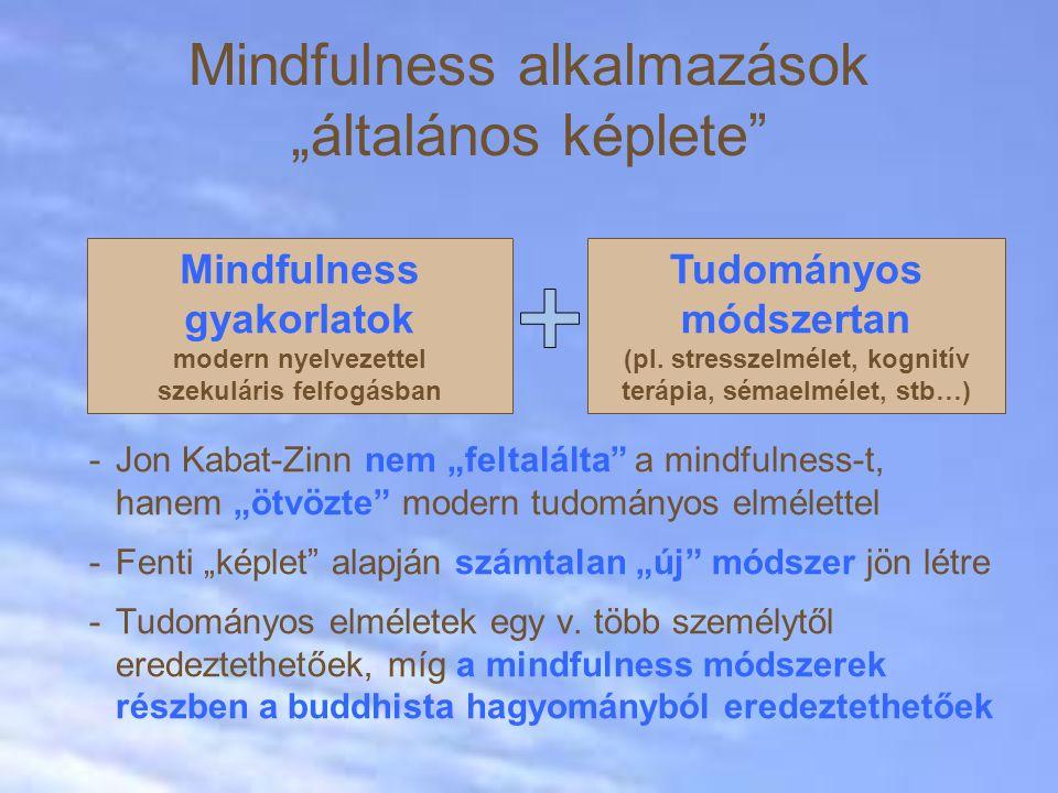 """Mindfulness alkalmazások """"általános képlete -Jon Kabat-Zinn nem """"feltalálta a mindfulness-t, hanem """"ötvözte modern tudományos elmélettel -Fenti """"képlet alapján számtalan """"új módszer jön létre -Tudományos elméletek egy v."""