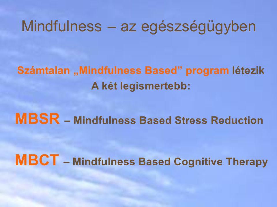 """Mindfulness – az egészségügyben MBCT – Mindfulness Based Cognitive Therapy Számtalan """"Mindfulness Based program létezik A két legismertebb: MBSR – Mindfulness Based Stress Reduction"""