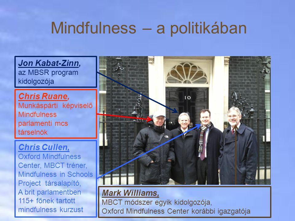 Mindfulness – a politikában Jon Kabat-Zinn, az MBSR program kidolgozója Chris Ruane, Munkáspárti képviselő Mindfulness parlamenti mcs társelnök Chris Cullen, Oxford Mindfulness Center, MBCT tréner, Mindfulness in Schools Project társalapító, A brit parlamentben 115+ főnek tartott mindfulness kurzust Mark Williams, MBCT módszer egyik kidolgozója, Oxford Mindfulness Center korábbi igazgatója
