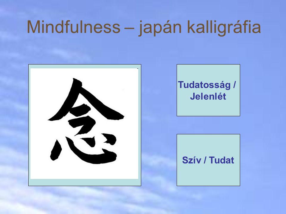 "Mindfulness – japán kalligráfia Japanesecalligraphy of the word ""MINDFULNESS Tudatosság / Jelenlét Szív / Tudat"