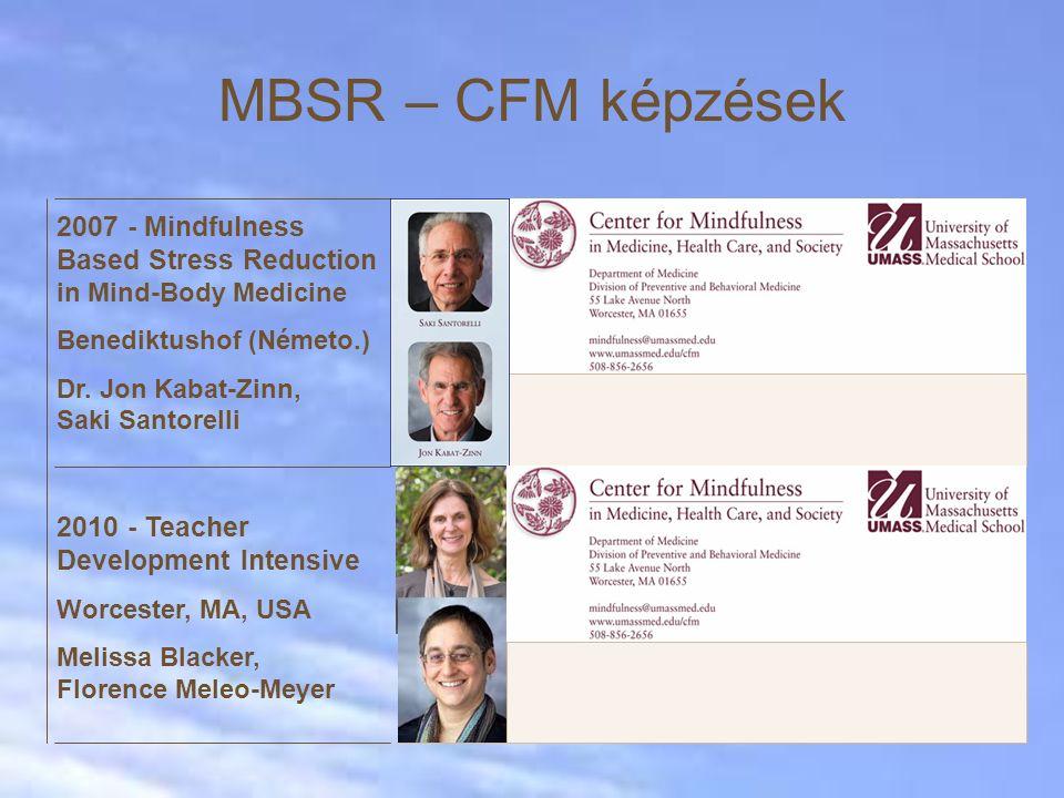 Saját erőfeszítések EgészségügyOktatásMunkahelyekBüntetés- végrehajtás ► MBSR  2008 óta folyamatosan MBSR tanfolyamok Országos Onkológiai Intézetben ► MBCT  2014- folyamatban Oxford Mindfulness Center és Semmelweis Egy.