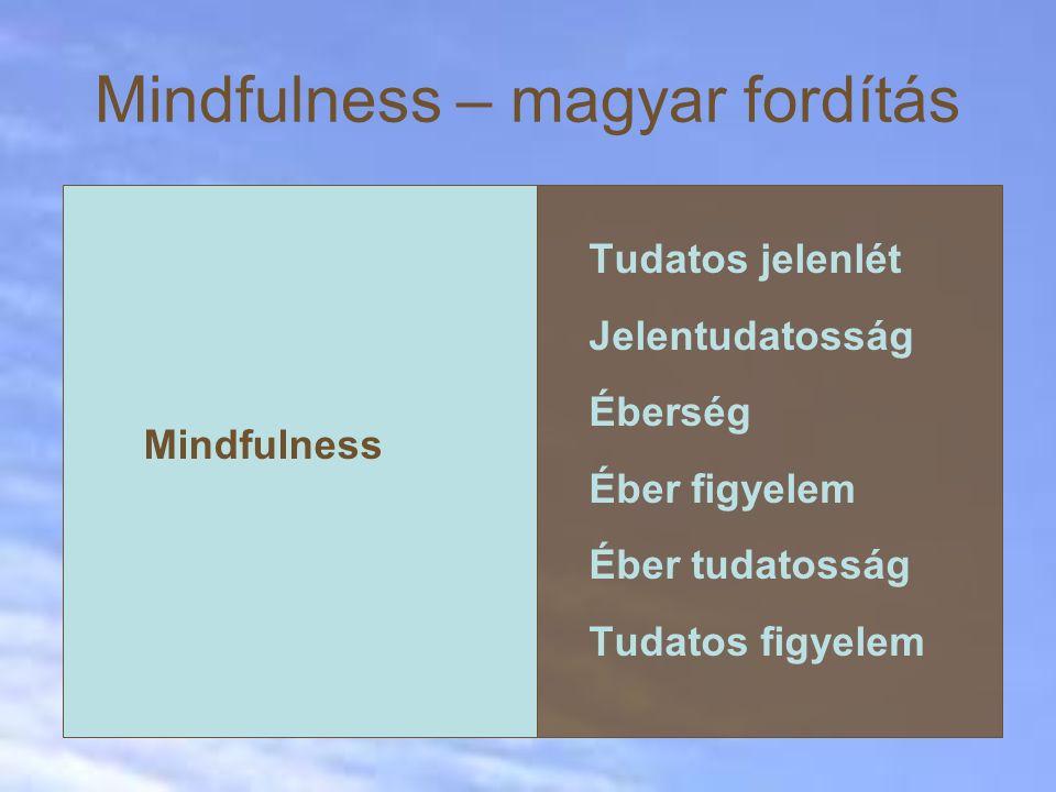 Mindfulness – magyar fordítás Mindfulness Tudatos jelenlét Jelentudatosság Éberség Éber figyelem Éber tudatosság Tudatos figyelem