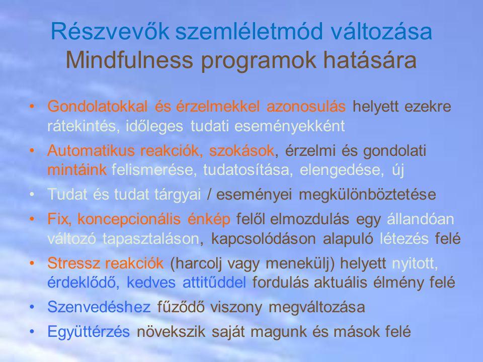 Gondolatokkal és érzelmekkel azonosulás helyett ezekre rátekintés, időleges tudati eseményekként Automatikus reakciók, szokások, érzelmi és gondolati mintáink felismerése, tudatosítása, elengedése, új Tudat és tudat tárgyai / eseményei megkülönböztetése Fix, koncepcionális énkép felől elmozdulás egy állandóan változó tapasztaláson, kapcsolódáson alapuló létezés felé Stressz reakciók (harcolj vagy menekülj) helyett nyitott, érdeklődő, kedves attitűddel fordulás aktuális élmény felé Szenvedéshez fűződő viszony megváltozása Együttérzés növekszik saját magunk és mások felé Részvevők szemléletmód változása Mindfulness programok hatására