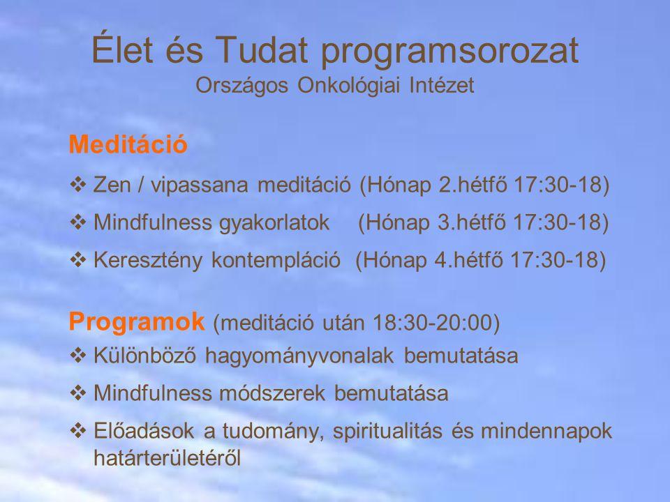 Meditáció  Zen / vipassana meditáció (Hónap 2.hétfő 17:30-18)  Mindfulness gyakorlatok (Hónap 3.hétfő 17:30-18)  Keresztény kontempláció (Hónap 4.hétfő 17:30-18) Programok (meditáció után 18:30-20:00)  Különböző hagyományvonalak bemutatása  Mindfulness módszerek bemutatása  Előadások a tudomány, spiritualitás és mindennapok határterületéről Élet és Tudat programsorozat Országos Onkológiai Intézet