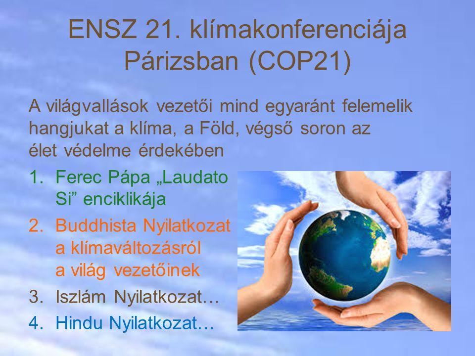 """A világvallások vezetői mind egyaránt felemelik hangjukat a klíma, a Föld, végső soron az élet védelme érdekében 1.Ferec Pápa """"Laudato Si enciklikája 2.Buddhista Nyilatkozat a klímaváltozásról a világ vezetőinek 3.Iszlám Nyilatkozat… 4.Hindu Nyilatkozat… ENSZ 21."""