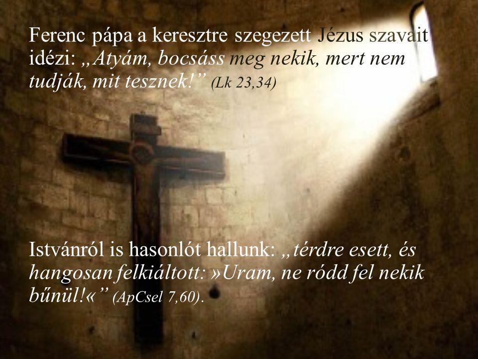 """Ferenc pápa a keresztre szegezett Jézus szavait idézi: """"Atyám, bocsáss meg nekik, mert nem, tudják, mit tesznek! (Lk 23,34) Istvánról is hasonlót hallunk: """"térdre esett, és hangosan felkiáltott: »Uram, ne ródd fel nekik bűnül!« (ApCsel 7,60)."""