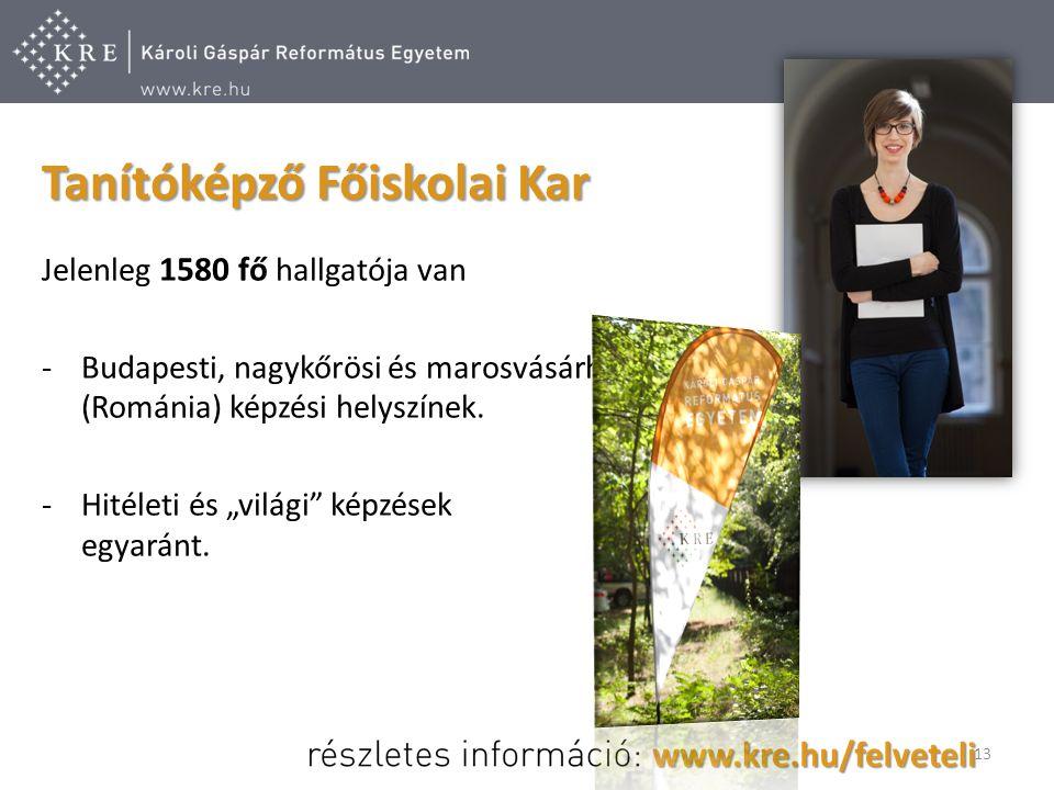 Jelenleg 1580 fő hallgatója van -Budapesti, nagykőrösi és marosvásárhelyi (Románia) képzési helyszínek.