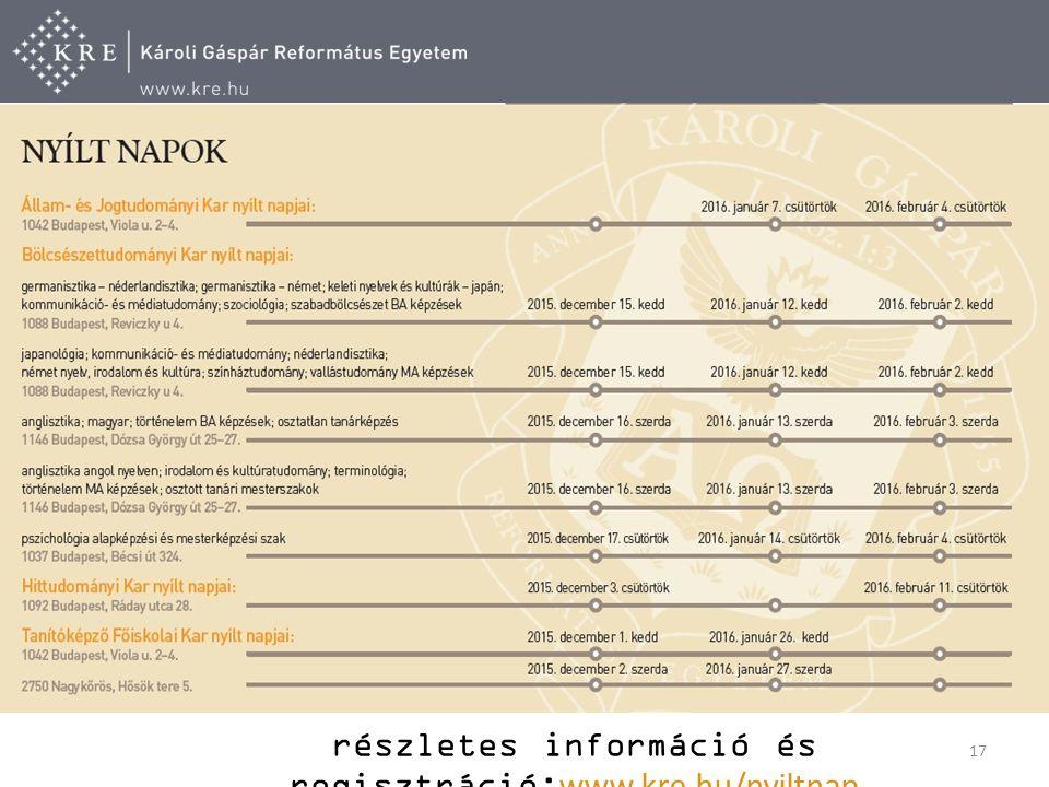 17 részletes információ és regisztráció: www.kre.hu/nyiltnap