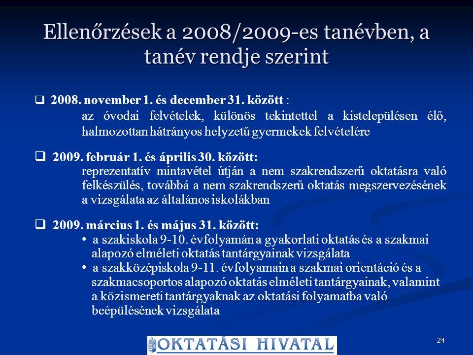 Ellenőrzések a 2008/2009-es tanévben, a tanév rendje szerint  2008.