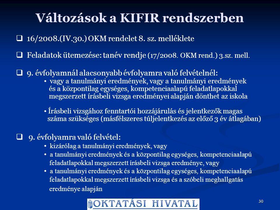 Változások a KIFIR rendszerben  16/2008.(IV.30.) OKM rendelet 8.