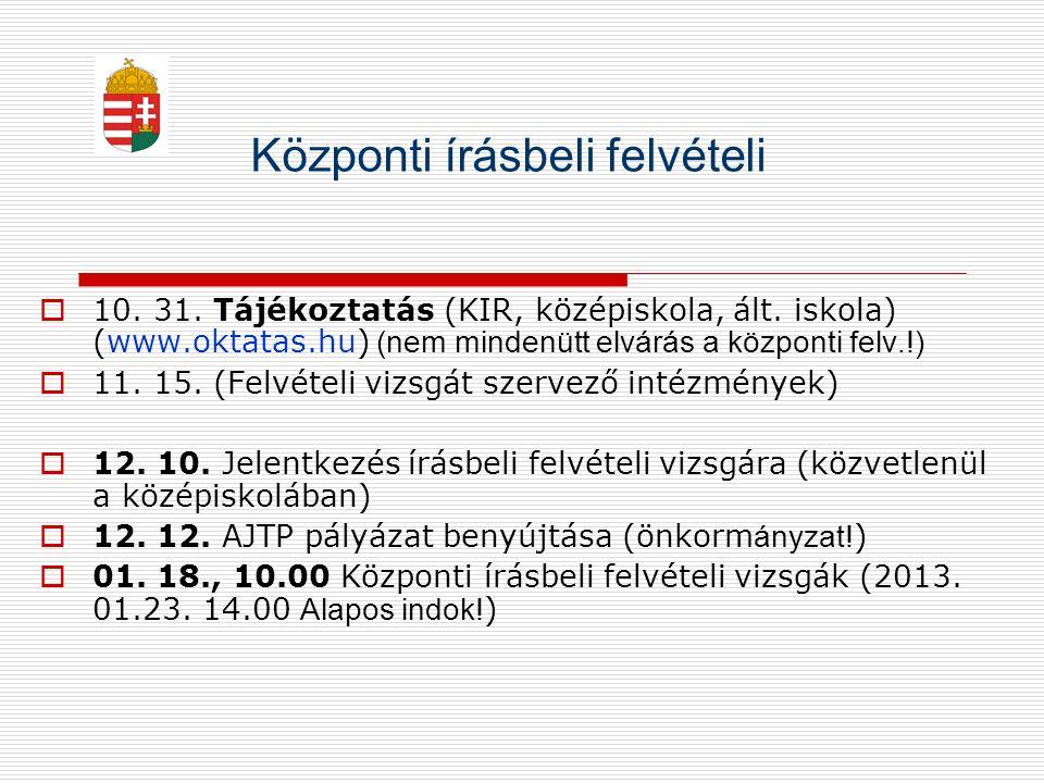Központi írásbeli felvételi  10. 31. Tájékoztatás (KIR, középiskola, ált. iskola) (www.oktatas.hu) (nem mindenütt elvárás a központi felv.!)  11. 15