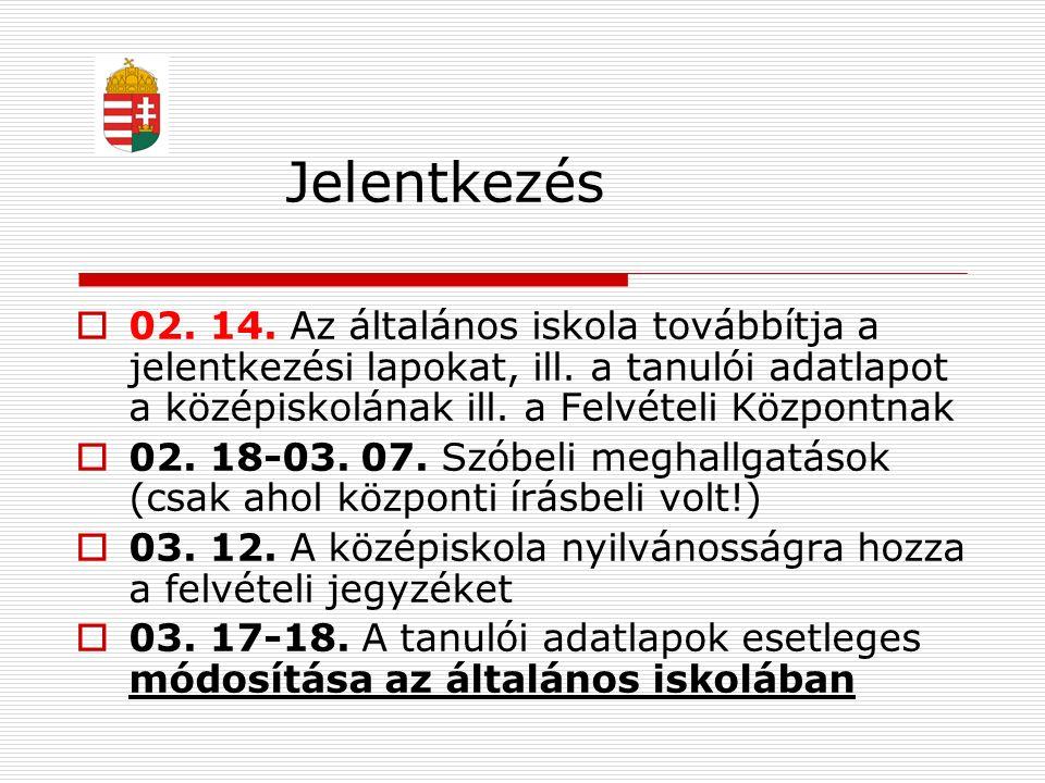 Jelentkezés  02. 14. Az általános iskola továbbítja a jelentkezési lapokat, ill. a tanulói adatlapot a középiskolának ill. a Felvételi Központnak  0