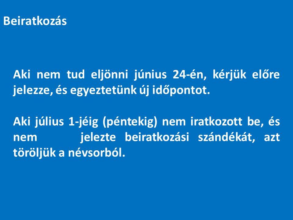 Aki nem tud eljönni június 24-én, kérjük előre jelezze, és egyeztetünk új időpontot.