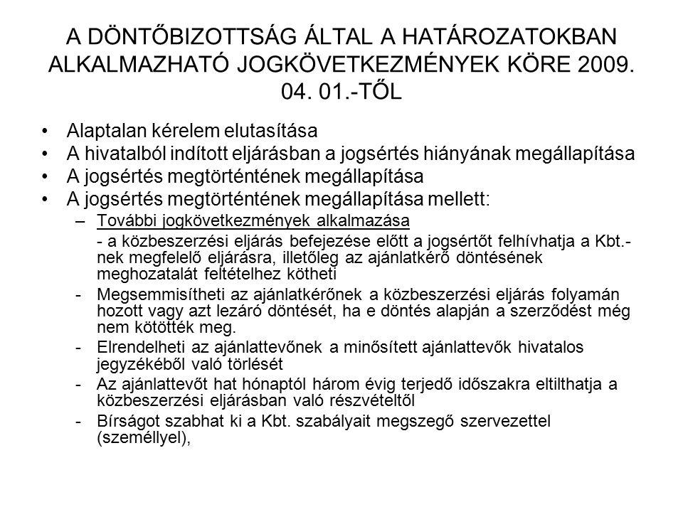 A DÖNTŐBIZOTTSÁG ÁLTAL A HATÁROZATOKBAN ALKALMAZHATÓ JOGKÖVETKEZMÉNYEK KÖRE 2009. 04. 01.-TŐL Alaptalan kérelem elutasítása A hivatalból indított eljá