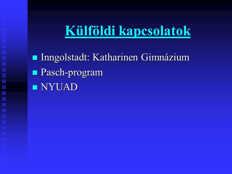 Külföldi kapcsolatok Inngolstadt: Katharinen Gimnázium Inngolstadt: Katharinen Gimnázium Pasch-program Pasch-program NYUAD NYUAD