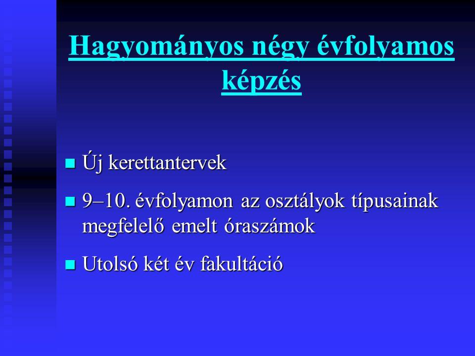 humán–angol humán–német humán–német matematika–angol matematika–angolmatematika–német reál: matematika–fizika reál: biológia–kémia nyelvi előkészítő – öt évfolyamos Képzési formák: