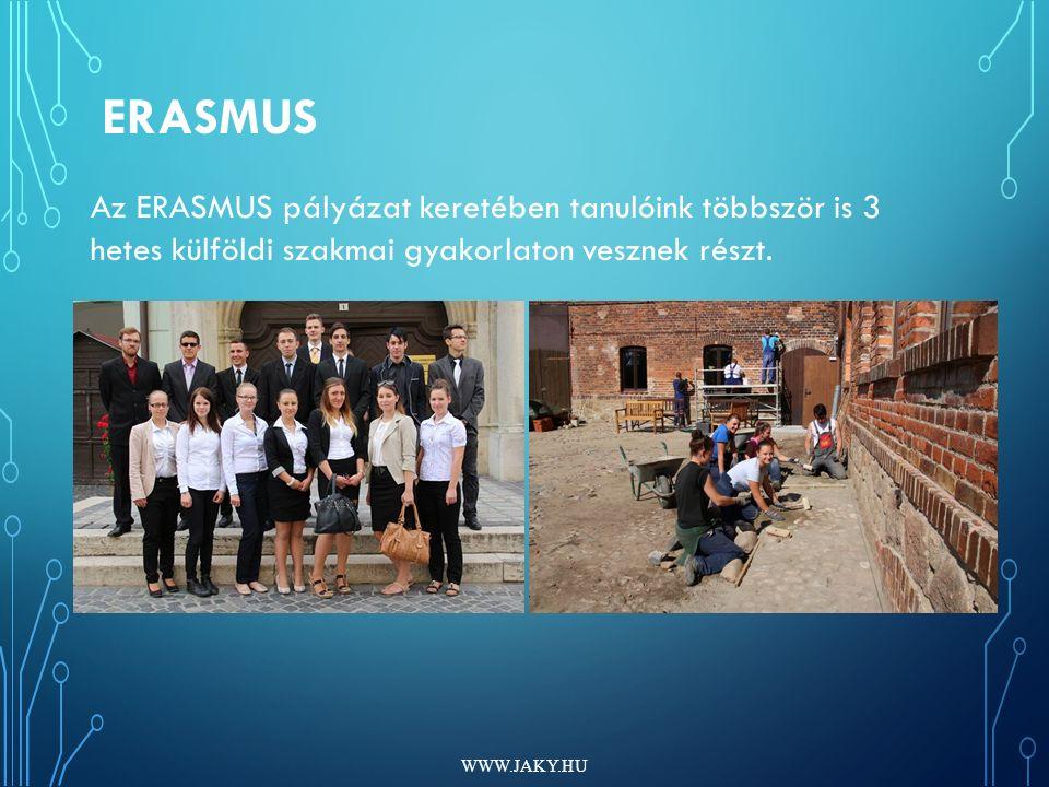 ERASMUS WWW.JAKY.HU Az ERASMUS pályázat keretében tanulóink többször is 3 hetes külföldi szakmai gyakorlaton vesznek részt.