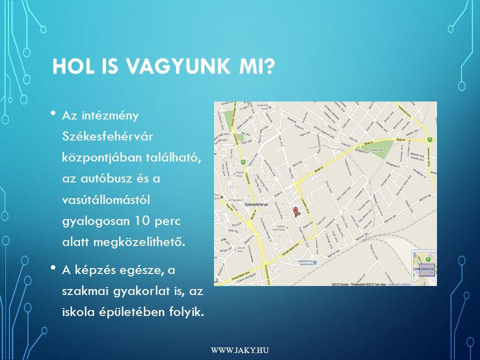 HOL IS VAGYUNK MI? Az intézmény Székesfehérvár központjában található, az autóbusz és a vasútállomástól gyalogosan 10 perc alatt megközelíthető. A kép
