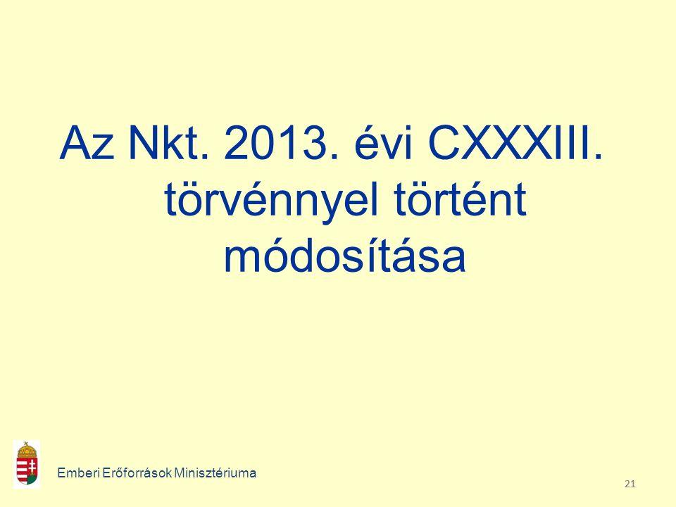 21 Az Nkt. 2013. évi CXXXIII. törvénnyel történt módosítása Emberi Erőforrások Minisztériuma