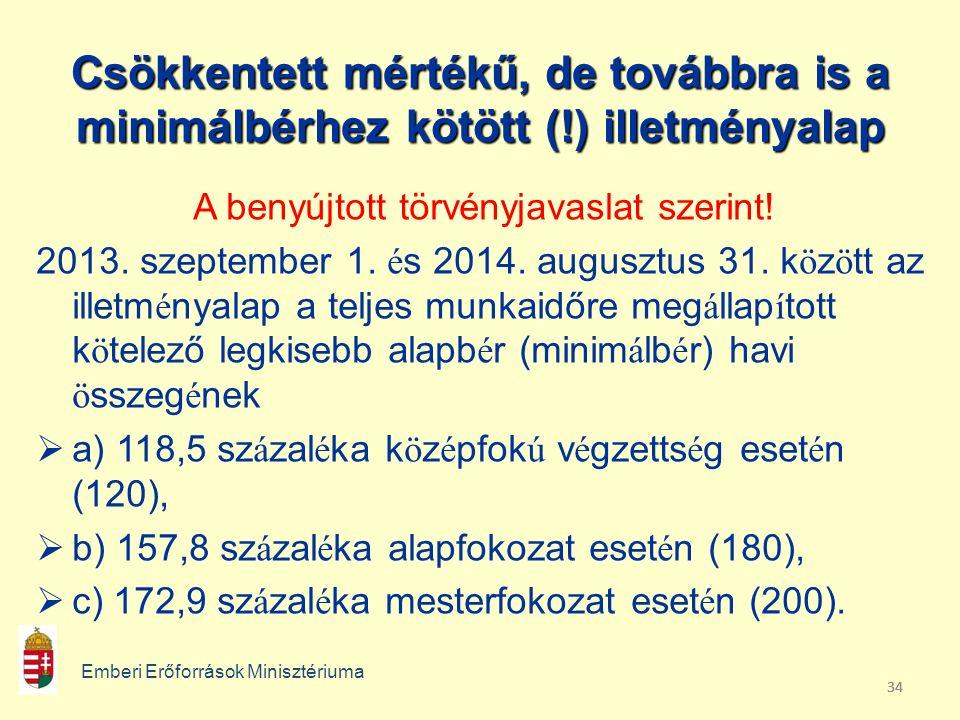 34 Csökkentett mértékű, de továbbra is a minimálbérhez kötött (!) illetményalap A benyújtott törvényjavaslat szerint.