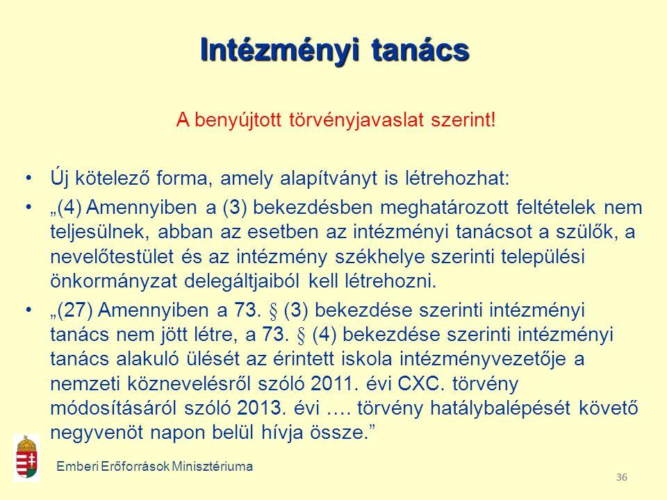 36 Intézményi tanács A benyújtott törvényjavaslat szerint.