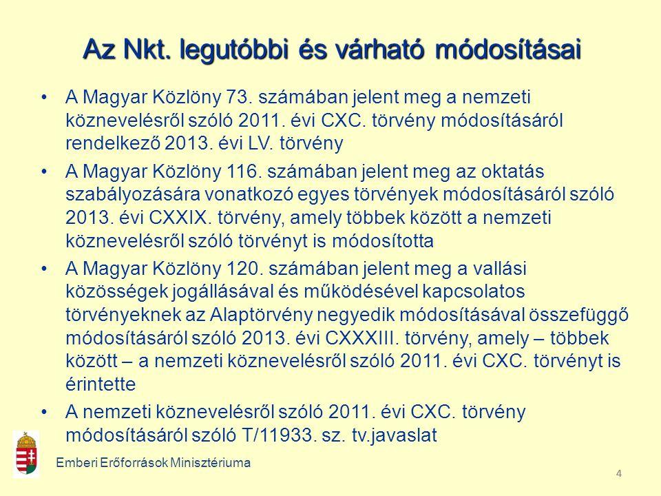 444 Az Nkt. legutóbbi és várható módosításai A Magyar Közlöny 73.