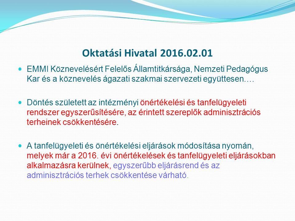 Oktatási Hivatal 2016.02.01 EMMI Köznevelésért Felelős Államtitkársága, Nemzeti Pedagógus Kar és a köznevelés ágazati szakmai szervezeti együttesen….