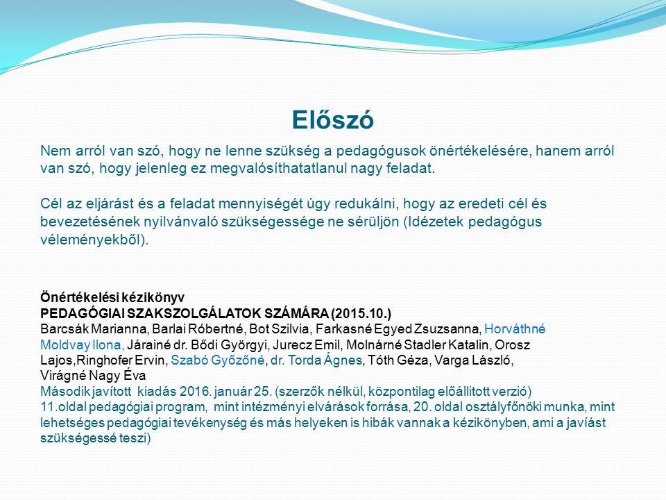 Az önértékelés bevezetése és annak előzményei 20/2012.