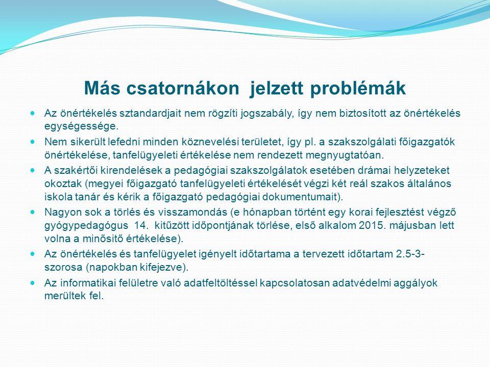 Más csatornákon jelzett problémák Az önértékelés sztandardjait nem rögzíti jogszabály, így nem biztosított az önértékelés egységessége.