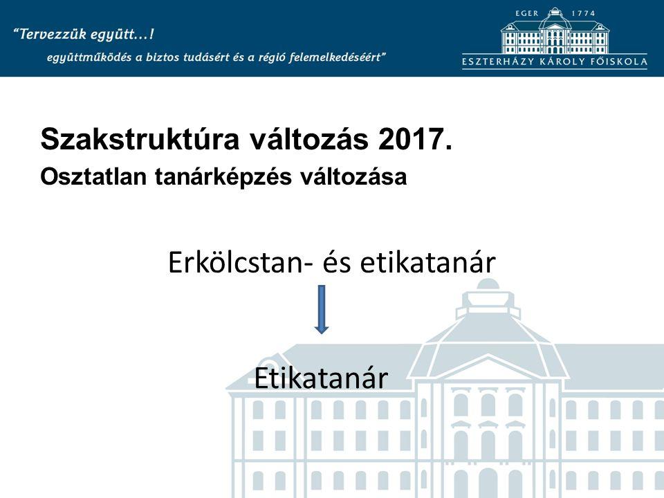 Szakstruktúra változás 2017. Osztatlan tanárképzés változása Erkölcstan- és etikatanár Etikatanár