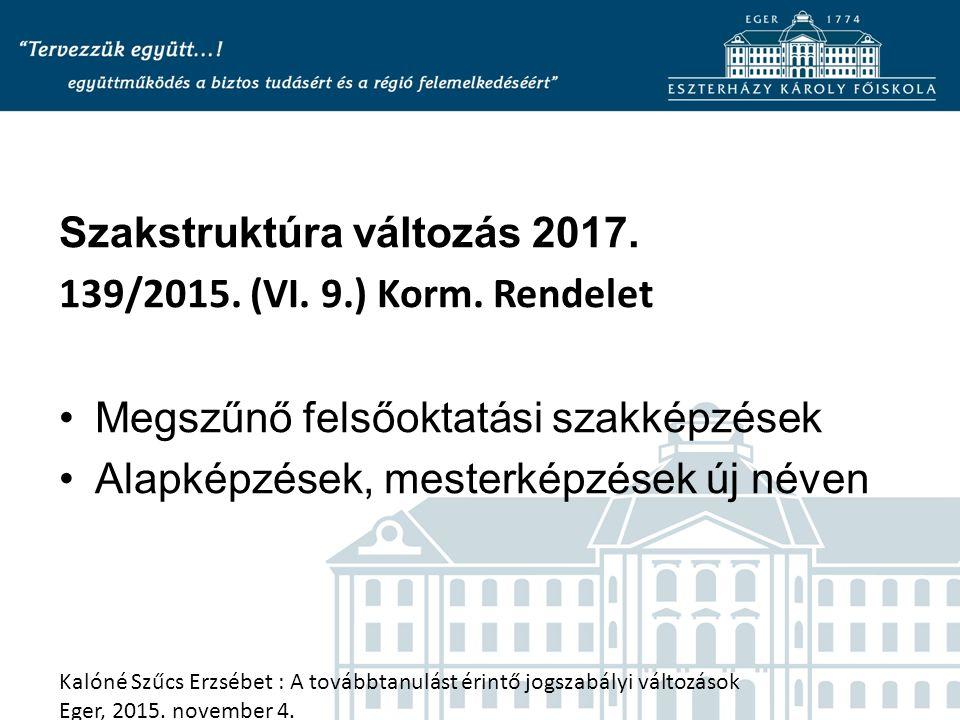 Szakstruktúra változás 2017. 139/2015. (VI. 9.) Korm. Rendelet Megszűnő felsőoktatási szakképzések Alapképzések, mesterképzések új néven Kalóné Szűcs