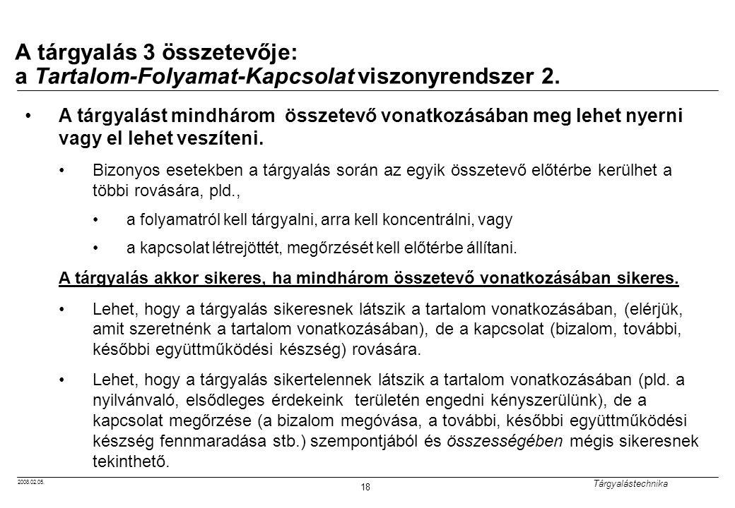 2008.02.05. Tárgyalástechnika 18 A tárgyalás 3 összetevője: a Tartalom-Folyamat-Kapcsolat viszonyrendszer 2. A tárgyalást mindhárom összetevő vonatkoz