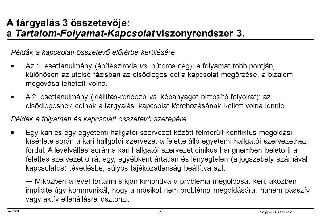 2008.02.05. Tárgyalástechnika 19 A tárgyalás 3 összetevője: a Tartalom-Folyamat-Kapcsolat viszonyrendszer 3. Példák a kapcsolati összetevő előtérbe ke