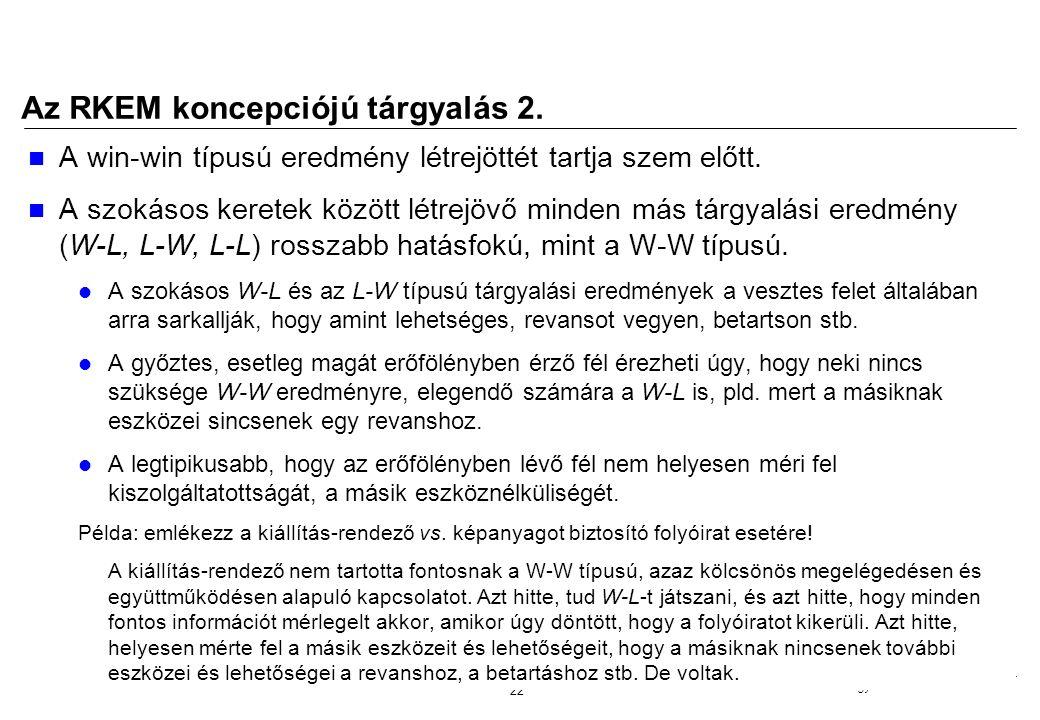 2008.02.05. Tárgyalástechnika 22 Az RKEM koncepciójú tárgyalás 2. A win-win típusú eredmény létrejöttét tartja szem előtt. A szokásos keretek között l
