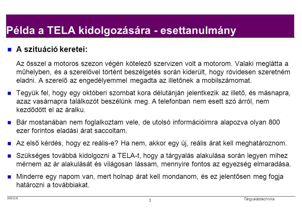 2008.02.05. Tárgyalástechnika 3 Példa a TELA kidolgozására - esettanulmány A szituáció keretei: Az ősszel a motoros szezon végén kötelező szervizen vo