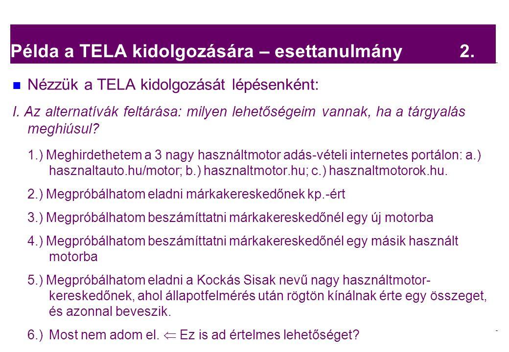 2008.02.05. Tárgyalástechnika 4 Példa a TELA kidolgozására – esettanulmány 2. Nézzük a TELA kidolgozását lépésenként: I. Az alternatívák feltárása: mi