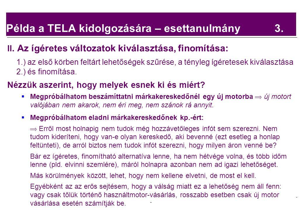 2008.02.05. Tárgyalástechnika 5 Példa a TELA kidolgozására – esettanulmány 3.