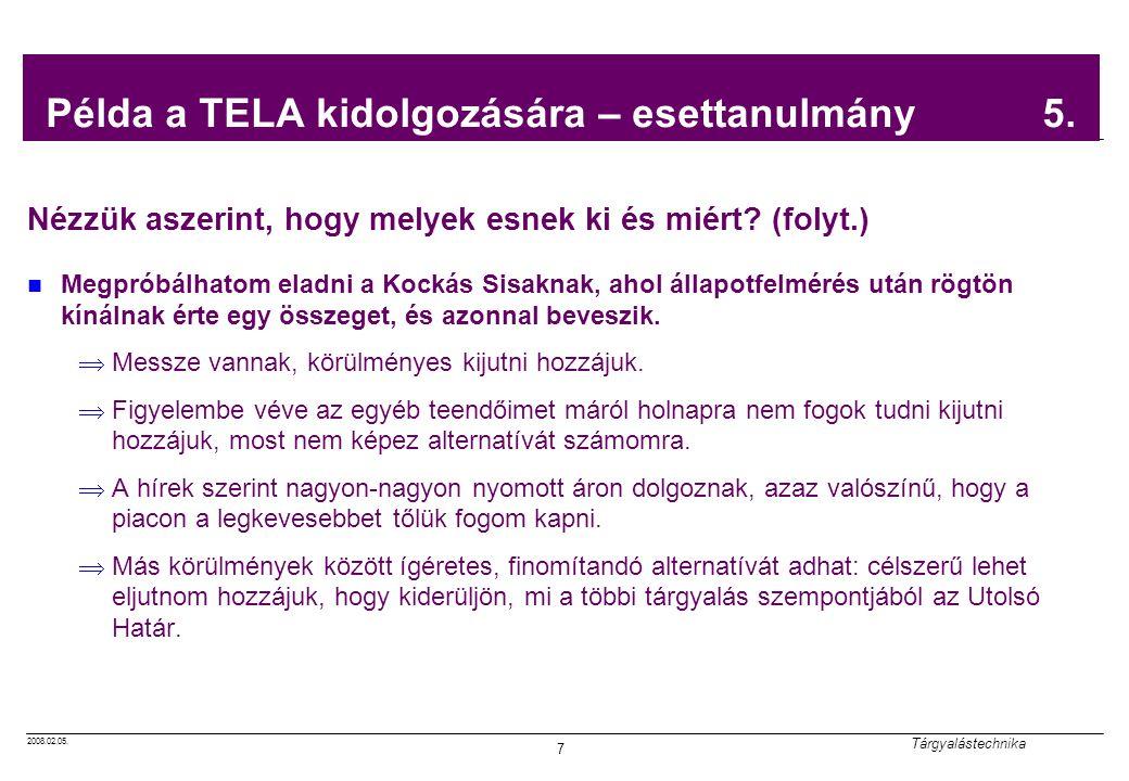 2008.02.05. Tárgyalástechnika 7 Példa a TELA kidolgozására – esettanulmány 5.