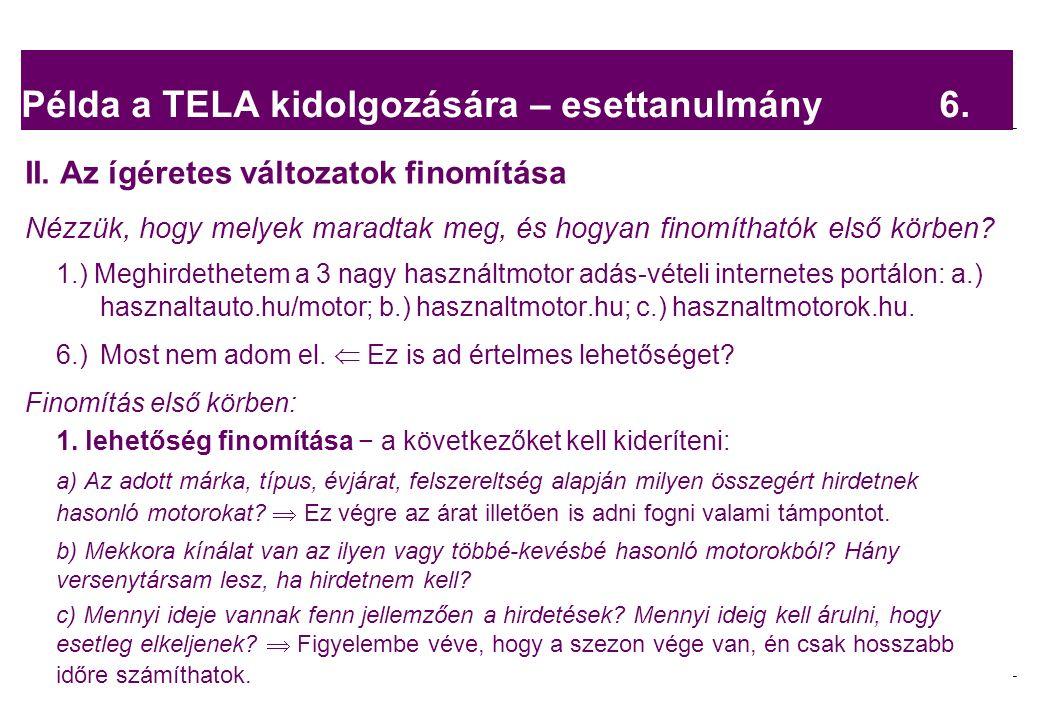 2008.02.05.Tárgyalástechnika 8 Példa a TELA kidolgozására – esettanulmány 6.