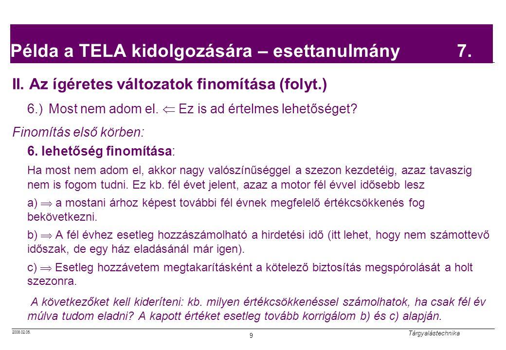 2008.02.05. Tárgyalástechnika 9 Példa a TELA kidolgozására – esettanulmány 7. II. Az ígéretes változatok finomítása (folyt.) 6.) Most nem adom el.  E