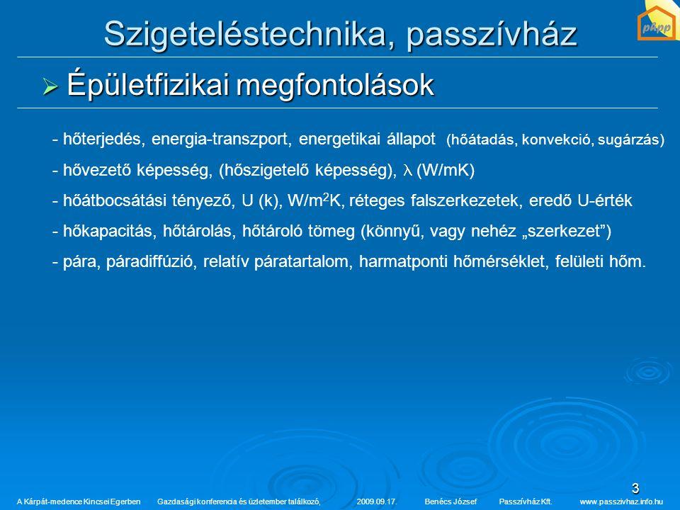 3 Szigeteléstechnika, passzívház  Épületfizikai megfontolások A Kárpát-medence Kincsei Egerben Gazdasági konferencia és üzletember találkozó,2009.09.