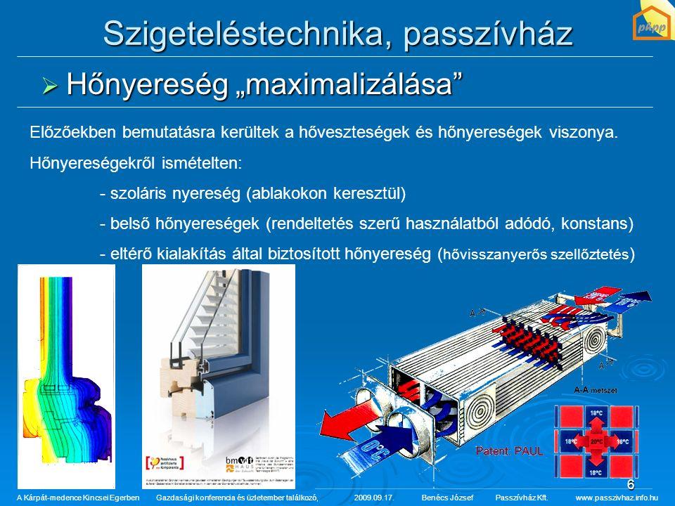 """6 Szigeteléstechnika, passzívház  Hőnyereség """"maximalizálása"""" A Kárpát-medence Kincsei Egerben Gazdasági konferencia és üzletember találkozó,2009.09."""