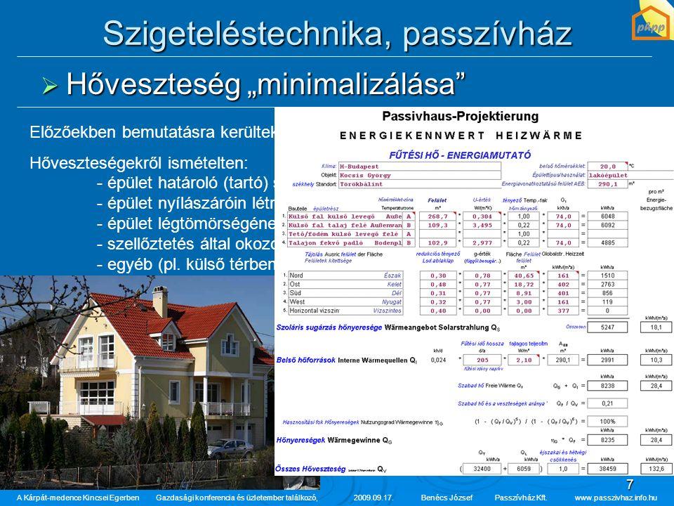 """7 Szigeteléstechnika, passzívház  Hőveszteség """"minimalizálása"""" A Kárpát-medence Kincsei Egerben Gazdasági konferencia és üzletember találkozó,2009.09"""
