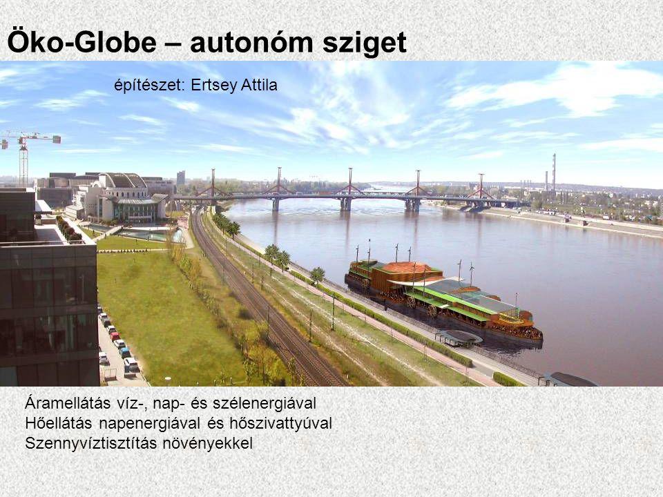 Öko-Globe – autonóm sziget építészet: Ertsey Attila Áramellátás víz-, nap- és szélenergiával Hőellátás napenergiával és hőszivattyúval Szennyvíztisztítás növényekkel